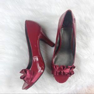 [Fergalicious] Cherry Red Ruffle Open Toe Pumps